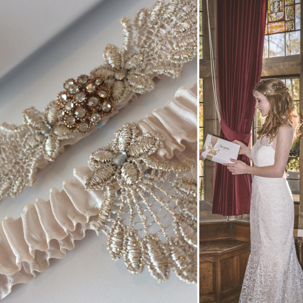champagne blush wedding garter