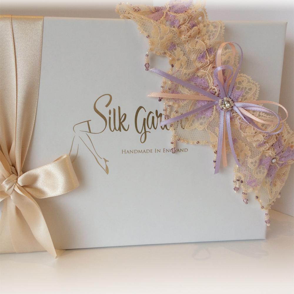 champagne lilac dream wedding garter