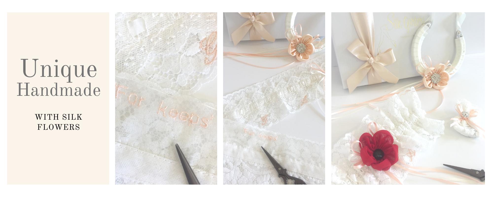 Unique handmade wedding garters