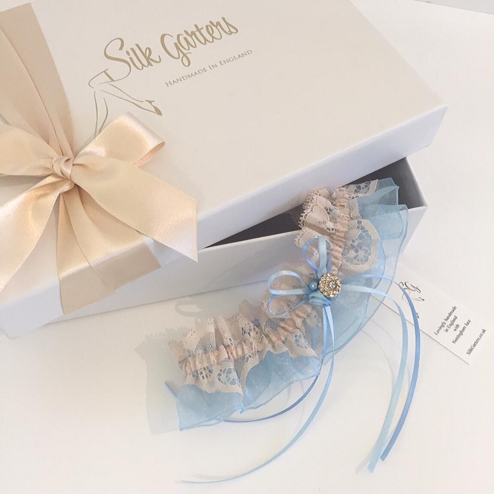 Bronte champagne blue wedding garter