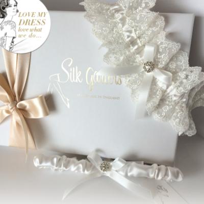 Ivory silk wedding garter set
