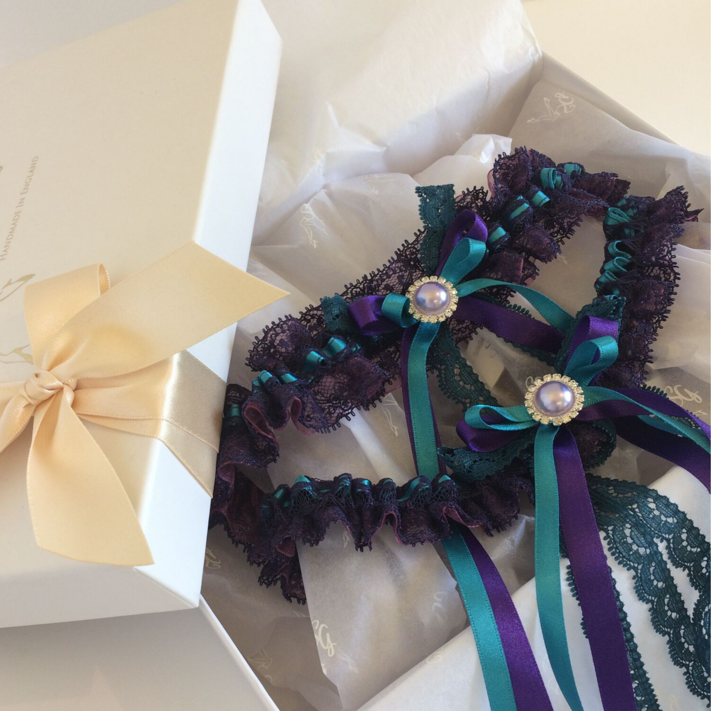 purple teal wedding garter set