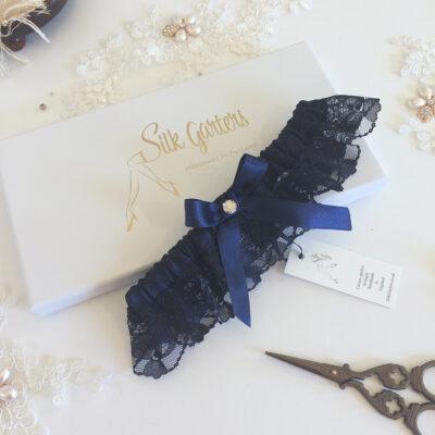 Sophisticated dark navy blue wedding garter