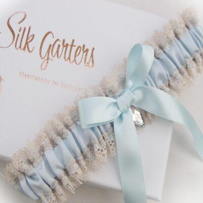 Simply vintage blue latte wedding garter