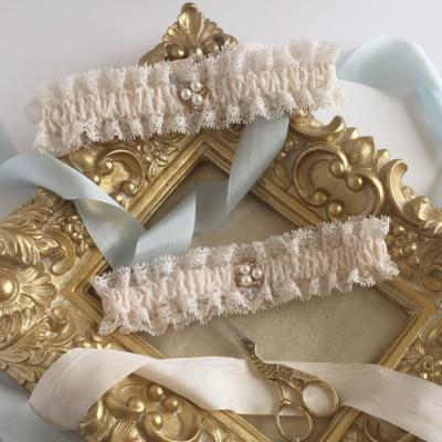 Gracie blush wedding garter vintage silk