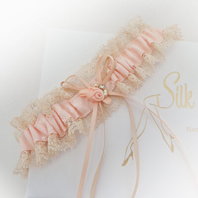 Peach and champagne nude wedding garter