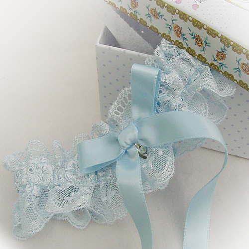 Baby blue wedding garter