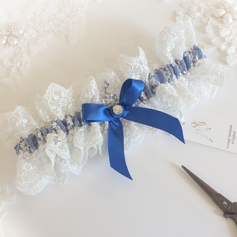Royal blue wedding garter Lauren Nottingham lace