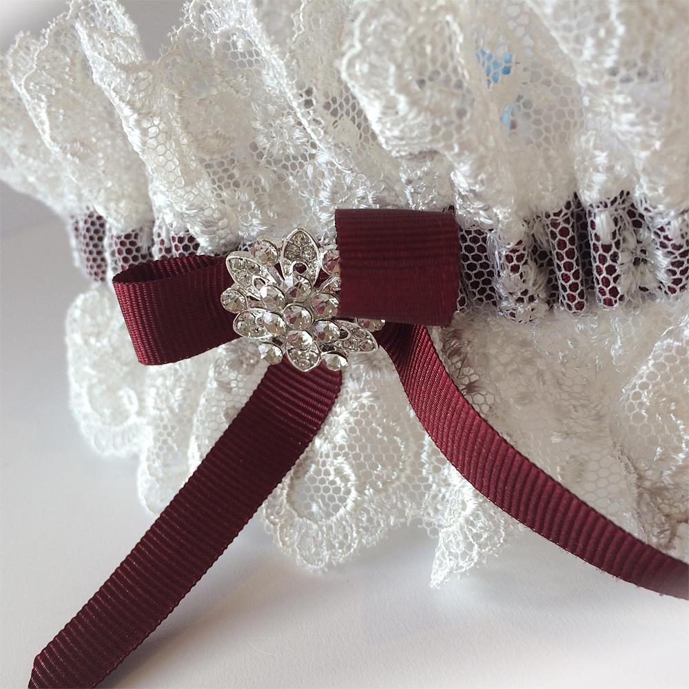 Burgundy red wine wedding garter