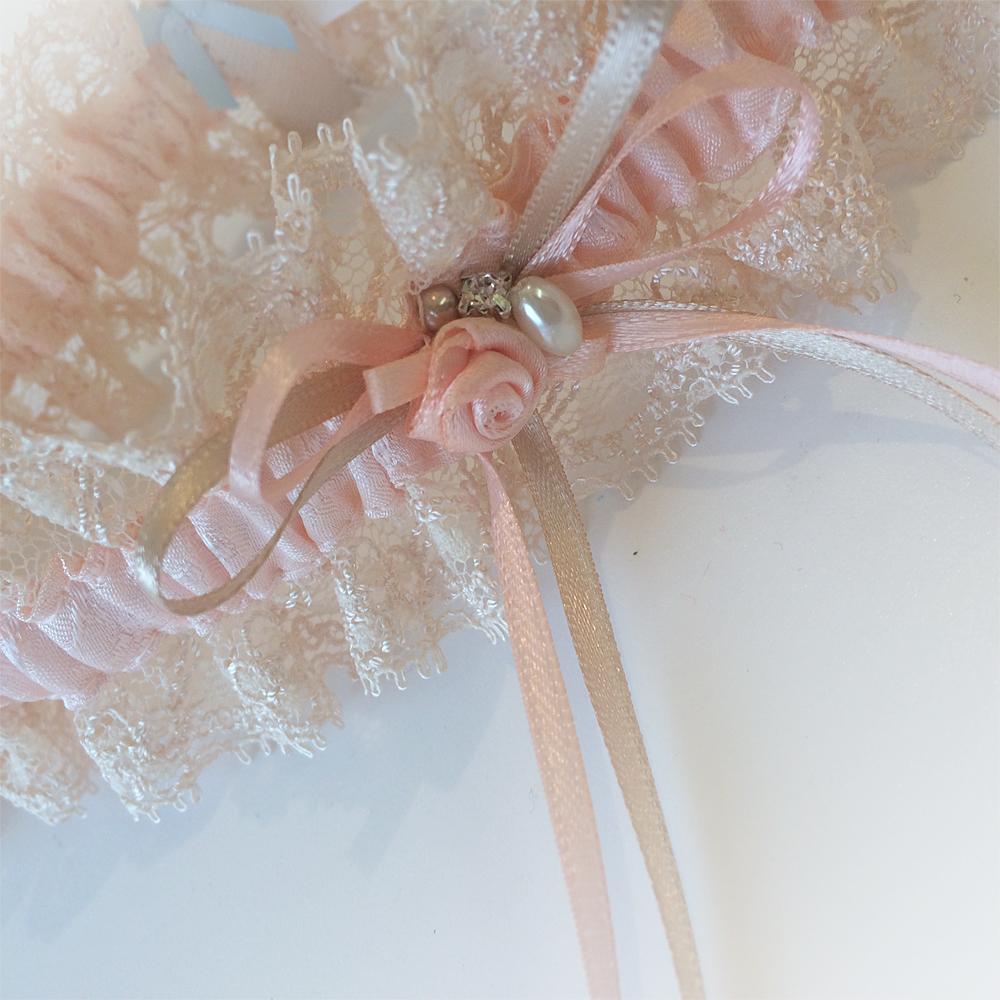 peach wedding garter