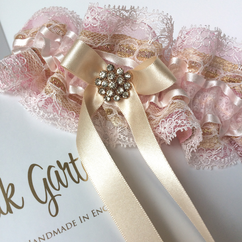 Fairy dust pink and gold ruffle wedding garter