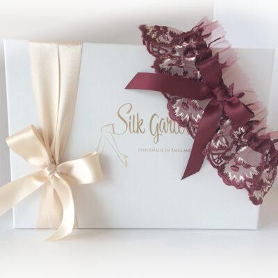 Burgundy red wedding garter