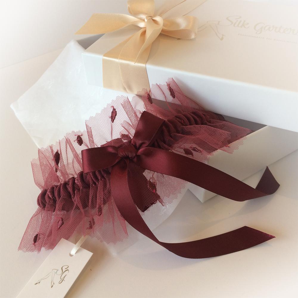 leafy tulle wedding garter
