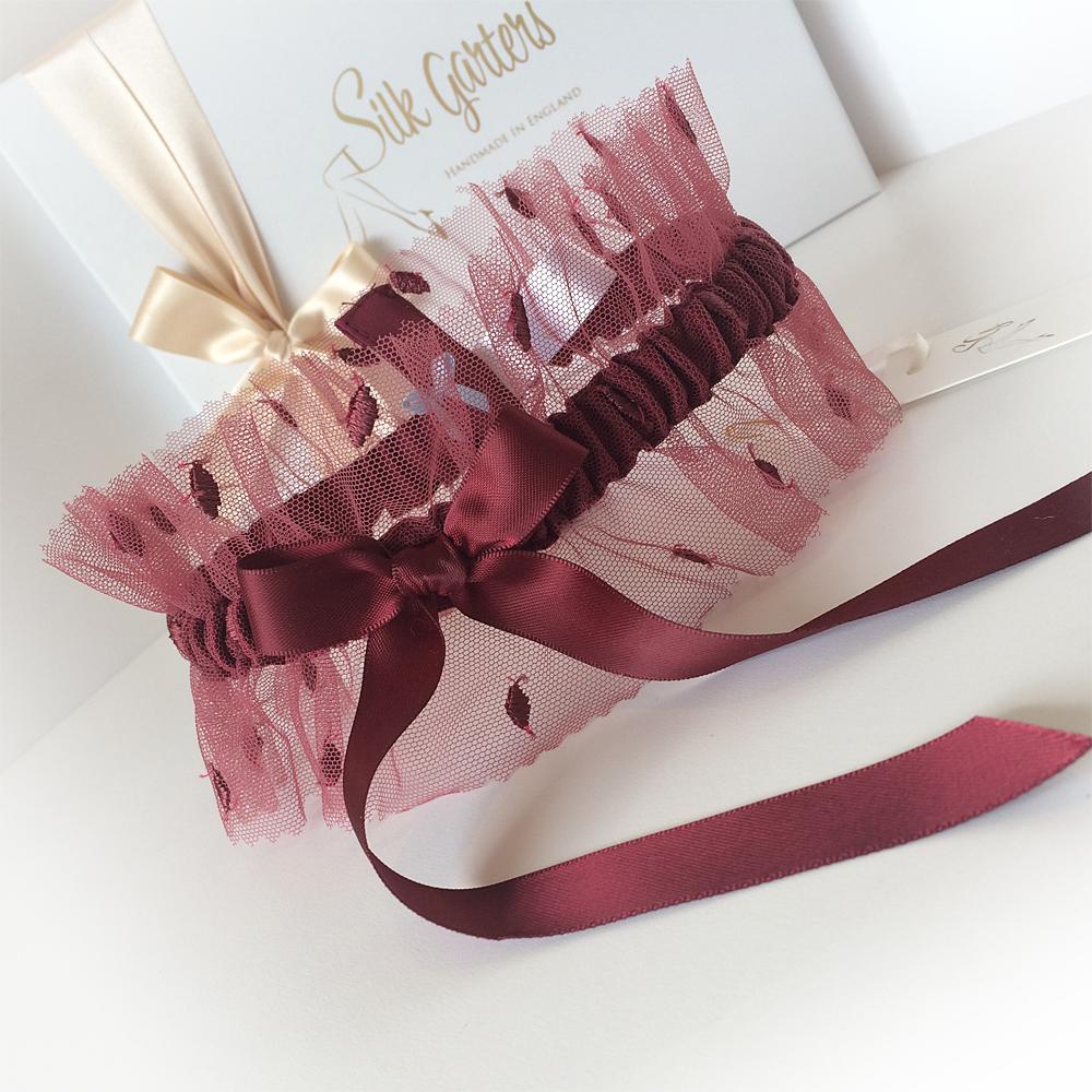 Ruby tulle wedding garter