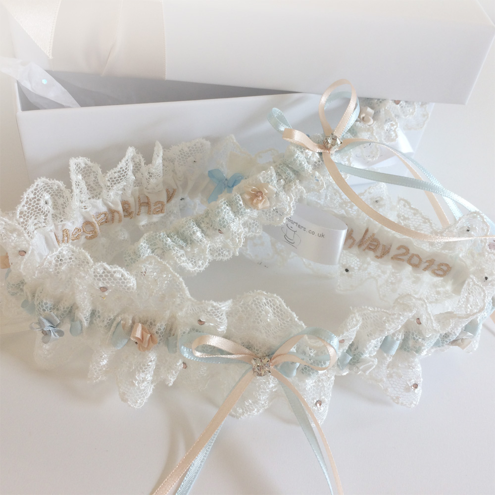 personalised wedding garters