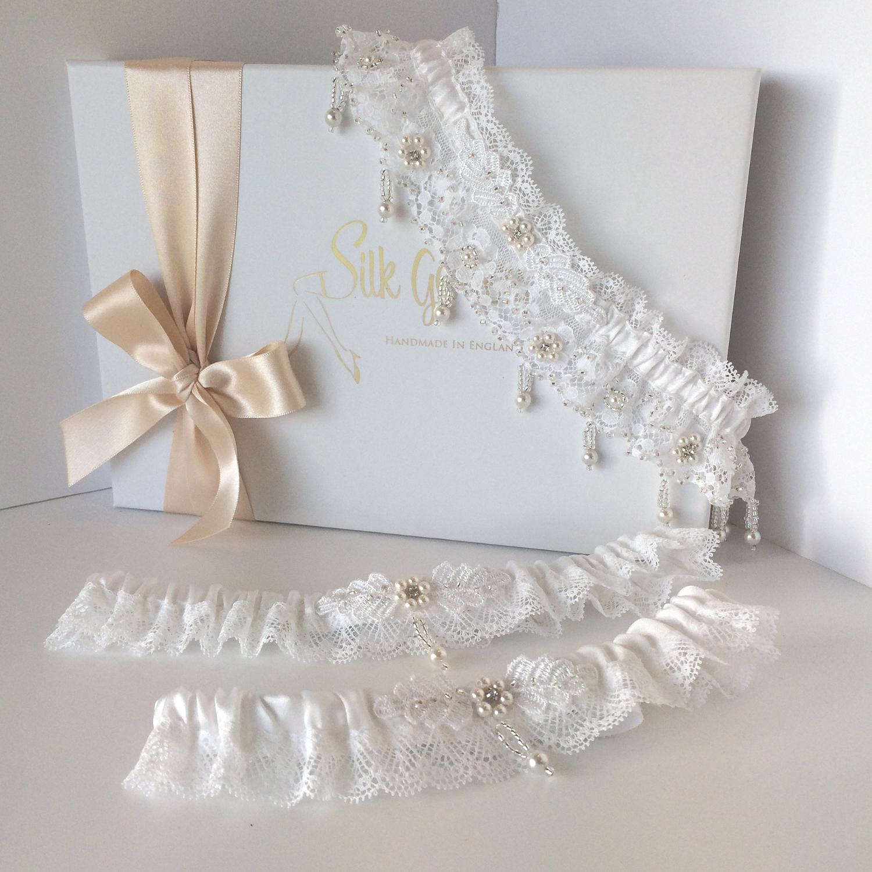 Unique luxury wedding garter set toss and bridesmaid garters