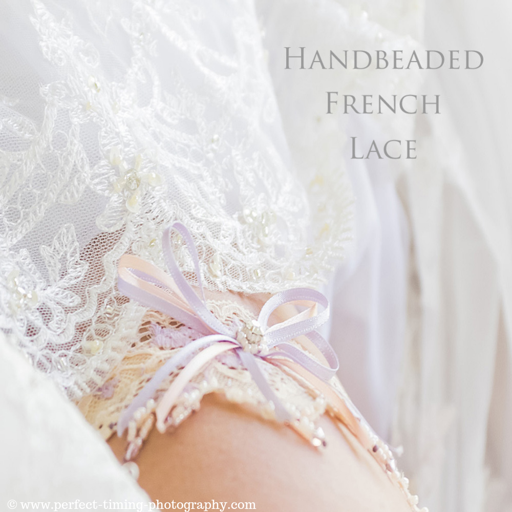 Wedding Garter Handbeaded with crystals Champagne French lace