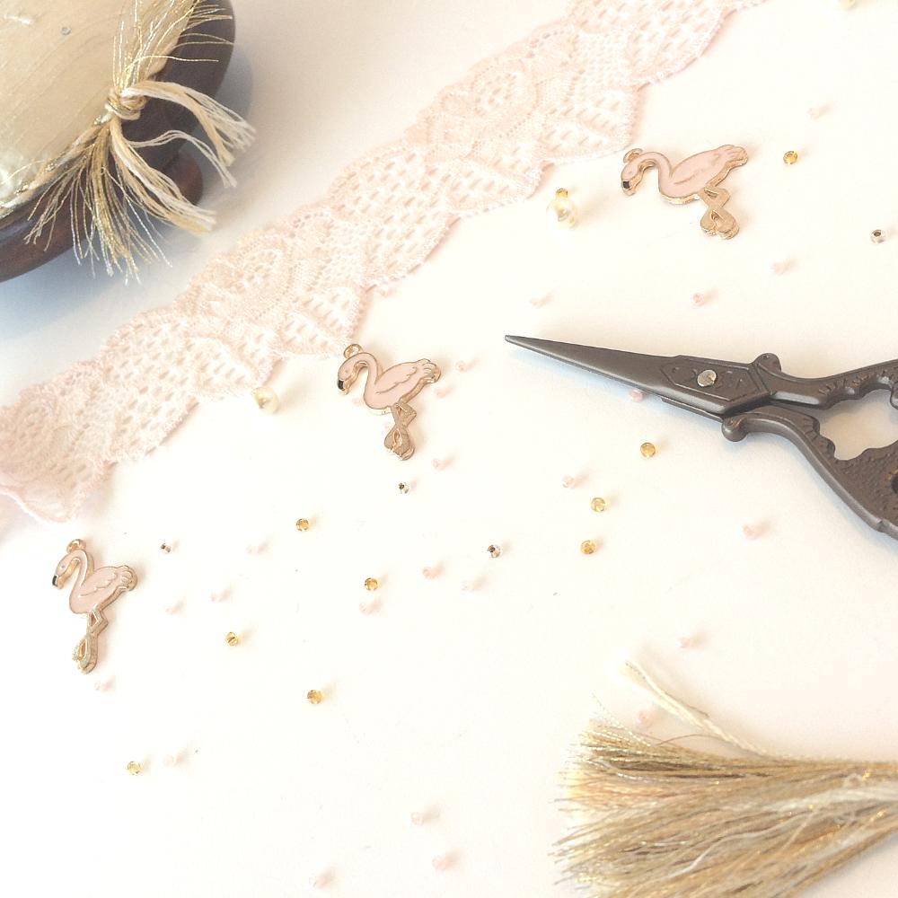 Flamingo wedding garter design process