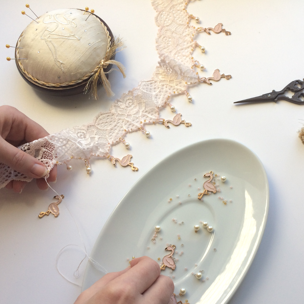 Making the flamingo wedding garter
